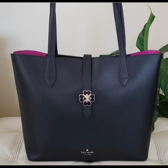 kate spade Handbags - Kate Spade Large Kaci Black Tote with Magenta NWOT